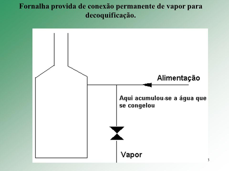 3 Fornalha provida de conexão permanente de vapor para decoquificação.