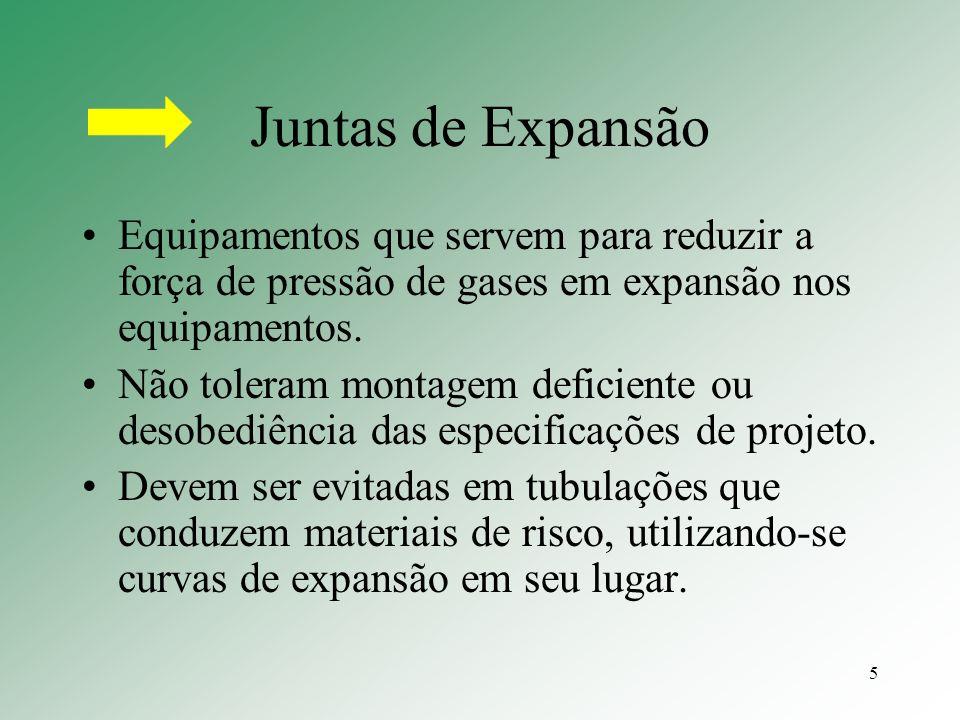 5 Juntas de Expansão Equipamentos que servem para reduzir a força de pressão de gases em expansão nos equipamentos. Não toleram montagem deficiente ou