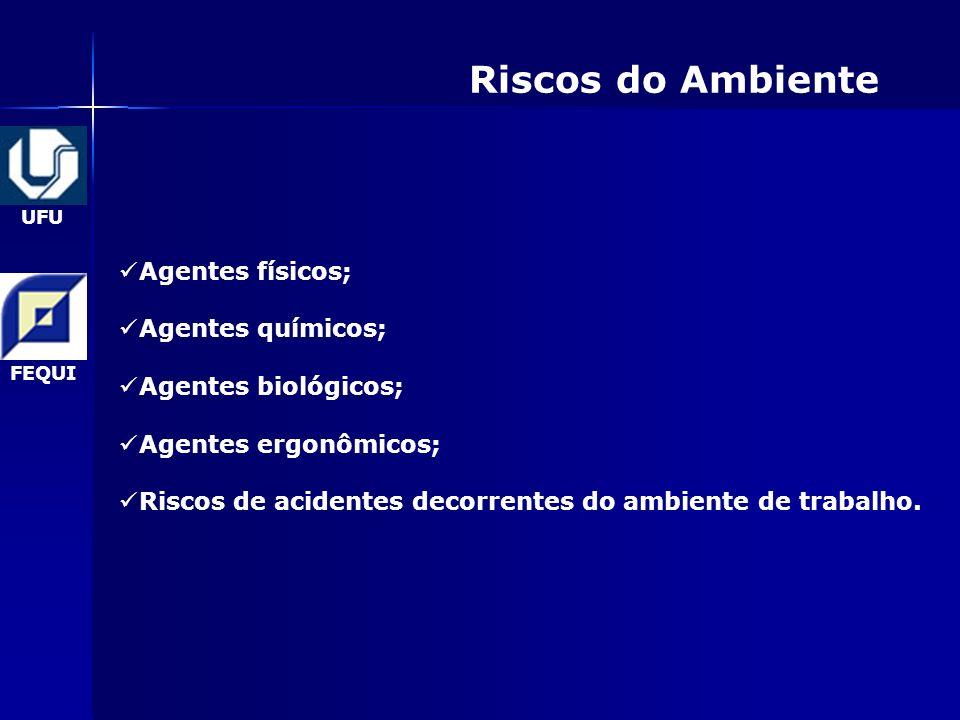 UFU FEQUI Riscos do Ambiente Agentes físicos; Agentes químicos; Agentes biológicos; Agentes ergonômicos; Riscos de acidentes decorrentes do ambiente de trabalho.