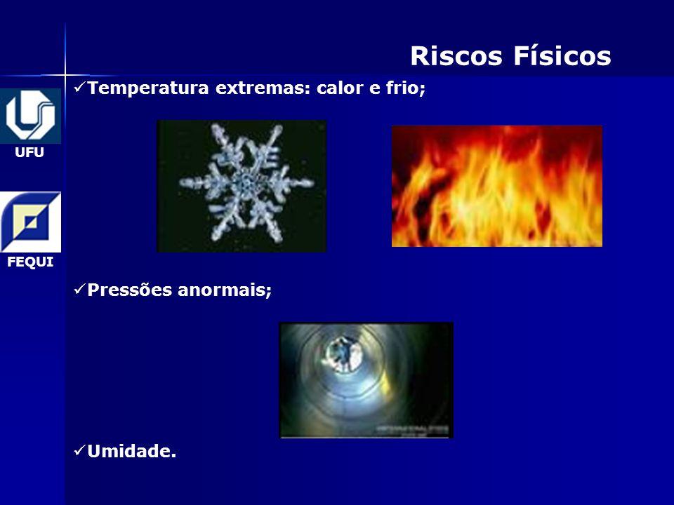 UFU FEQUI Riscos Físicos Temperatura extremas: calor e frio; Pressões anormais; Umidade.