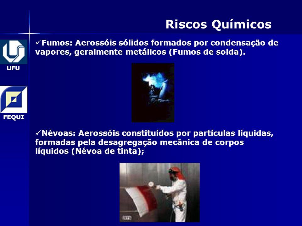 UFU FEQUI Riscos Químicos Fumos: Aerossóis sólidos formados por condensação de vapores, geralmente metálicos (Fumos de solda).