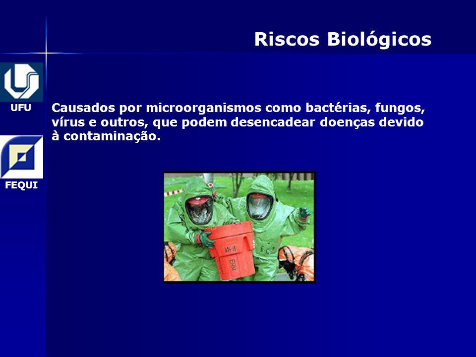 UFU FEQUI Riscos Biológicos Causados por microorganismos como bactérias, fungos, vírus e outros, que podem desencadear doenças devido à contaminação.