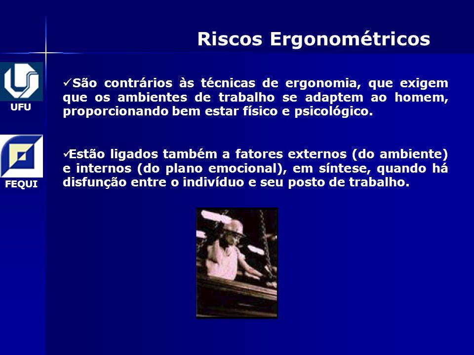 UFU FEQUI Riscos Ergonométricos São contrários às técnicas de ergonomia, que exigem que os ambientes de trabalho se adaptem ao homem, proporcionando bem estar físico e psicológico.