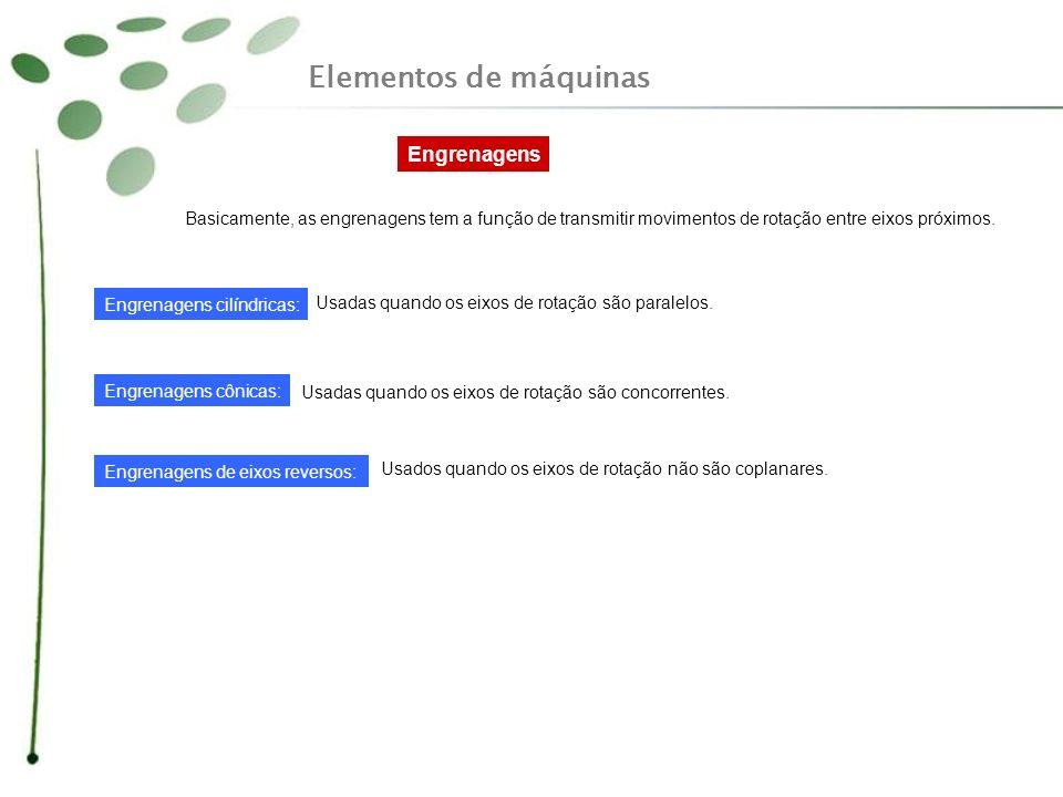 Elementos de máquinas Engrenagens Basicamente, as engrenagens tem a função de transmitir movimentos de rotação entre eixos próximos. Engrenagens cilín