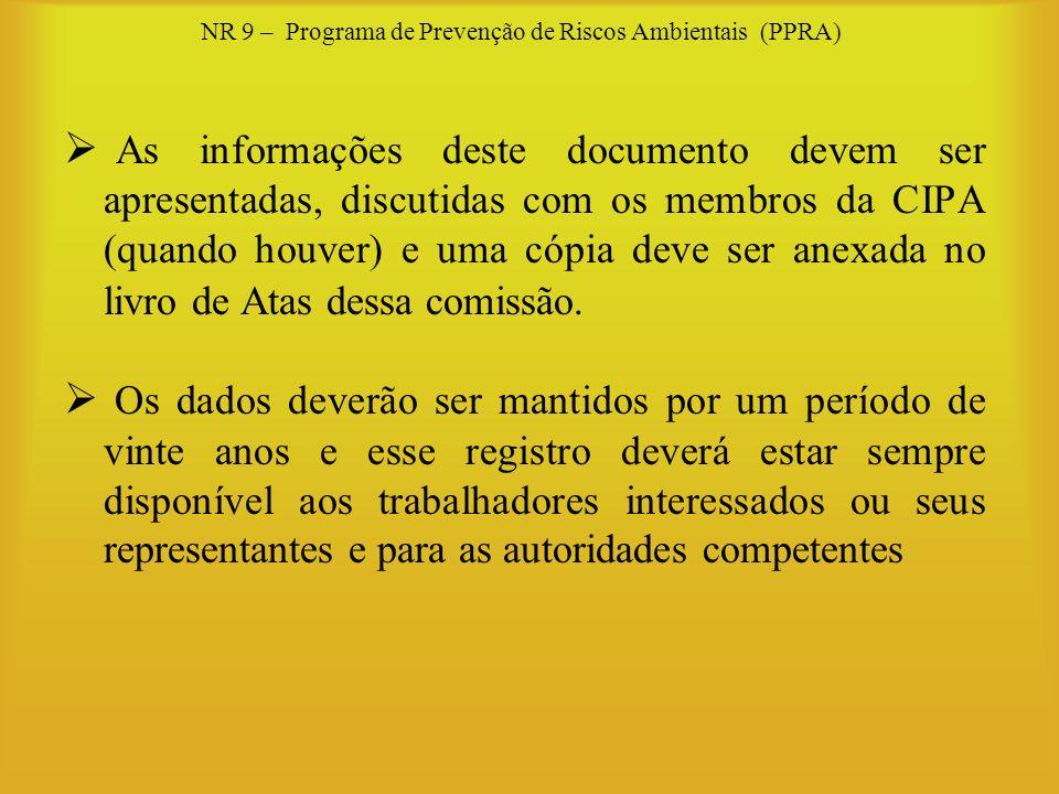 NR 9 – Programa de Prevenção de Riscos Ambientais (PPRA) As informações deste documento devem ser apresentadas, discutidas com os membros da CIPA (qua