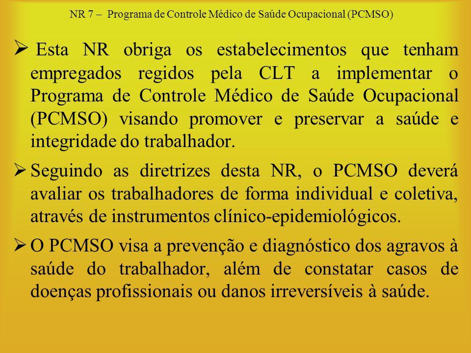 NR 7 – Programa de Controle Médico de Saúde Ocupacional (PCMSO) Esta NR obriga os estabelecimentos que tenham empregados regidos pela CLT a implementa
