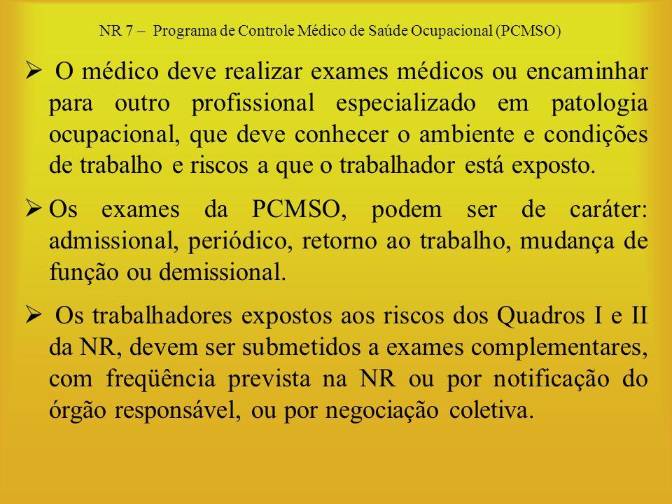 NR 7 – Programa de Controle Médico de Saúde Ocupacional (PCMSO) O médico deve realizar exames médicos ou encaminhar para outro profissional especializ