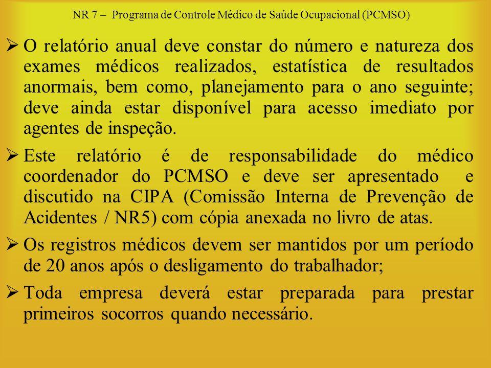 NR 7 – Programa de Controle Médico de Saúde Ocupacional (PCMSO) O relatório anual deve constar do número e natureza dos exames médicos realizados, est