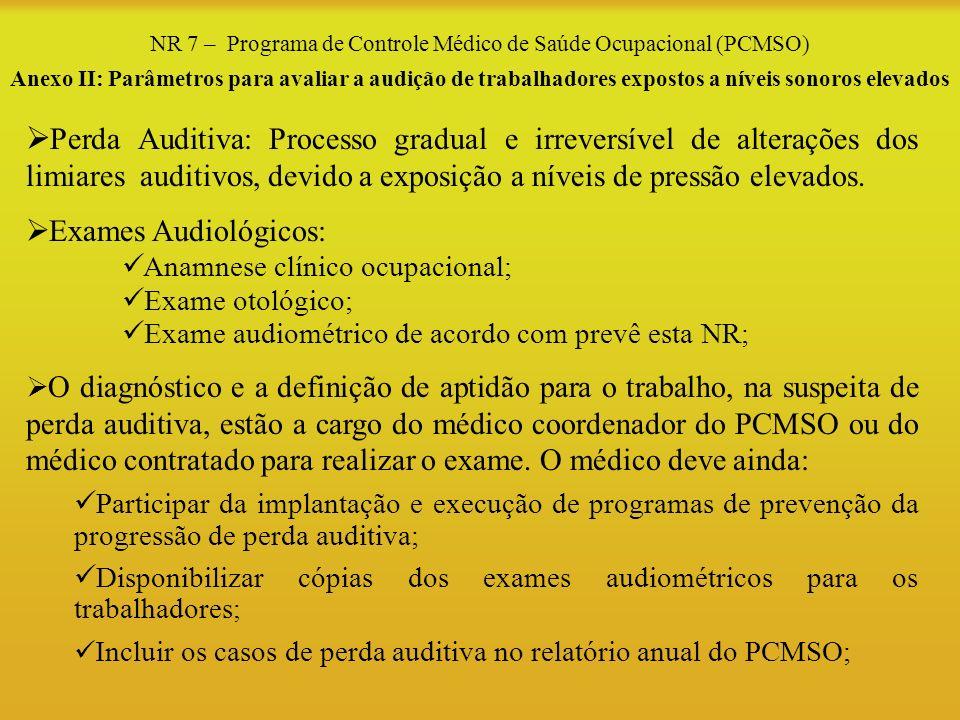 NR 7 – Programa de Controle Médico de Saúde Ocupacional (PCMSO) Anexo II: Parâmetros para avaliar a audição de trabalhadores expostos a níveis sonoros
