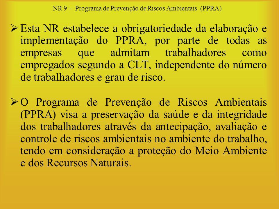 NR 9 – Programa de Prevenção de Riscos Ambientais (PPRA) Esta NR estabelece a obrigatoriedade da elaboração e implementação do PPRA, por parte de toda