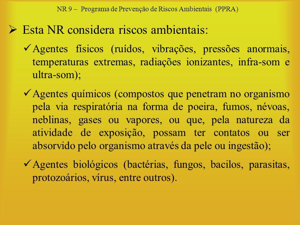 NR 9 – Programa de Prevenção de Riscos Ambientais (PPRA) Esta NR considera riscos ambientais: Agentes físicos (ruídos, vibrações, pressões anormais, t