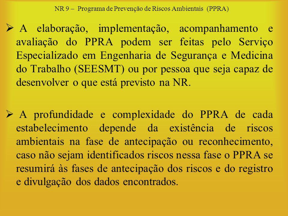 NR 9 – Programa de Prevenção de Riscos Ambientais (PPRA) A elaboração, implementação, acompanhamento e avaliação do PPRA podem ser feitas pelo Serviço
