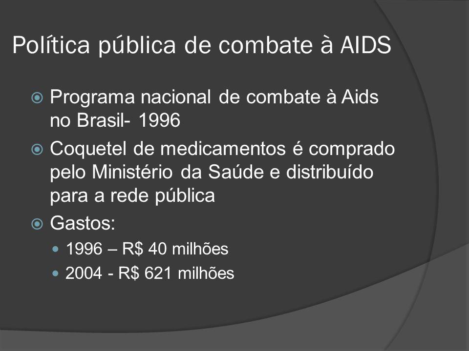 Política pública de combate à AIDS Programa nacional de combate à Aids no Brasil- 1996 Coquetel de medicamentos é comprado pelo Ministério da Saúde e