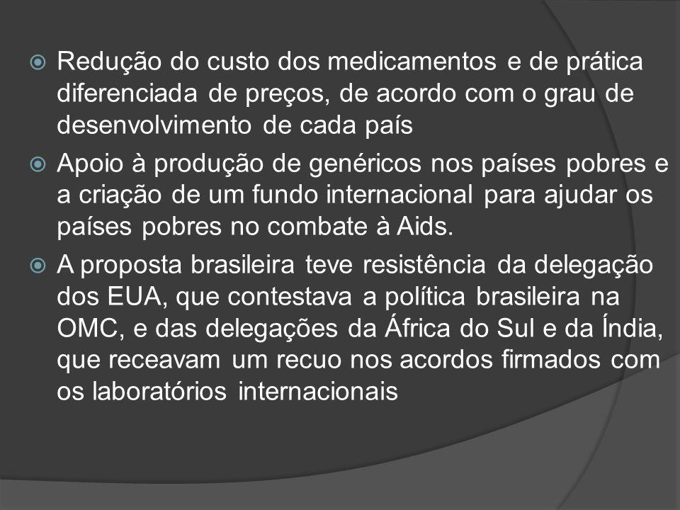 Redução do custo dos medicamentos e de prática diferenciada de preços, de acordo com o grau de desenvolvimento de cada país Apoio à produção de genéri