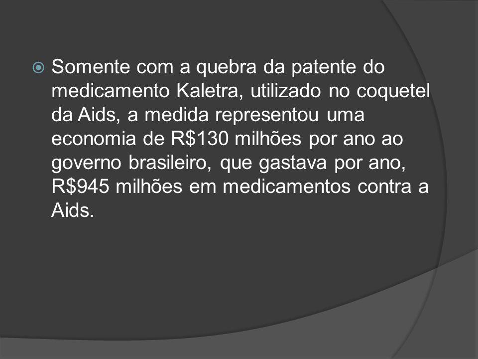Somente com a quebra da patente do medicamento Kaletra, utilizado no coquetel da Aids, a medida representou uma economia de R$130 milhões por ano ao g