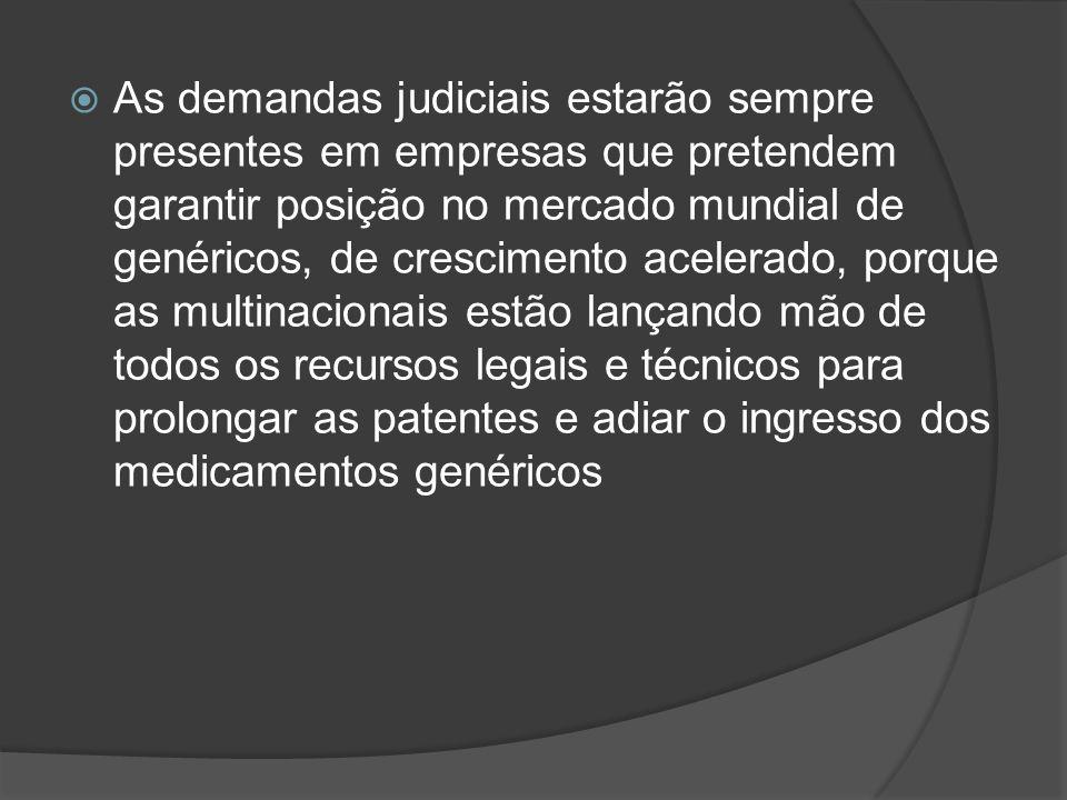 As demandas judiciais estarão sempre presentes em empresas que pretendem garantir posição no mercado mundial de genéricos, de crescimento acelerado, p