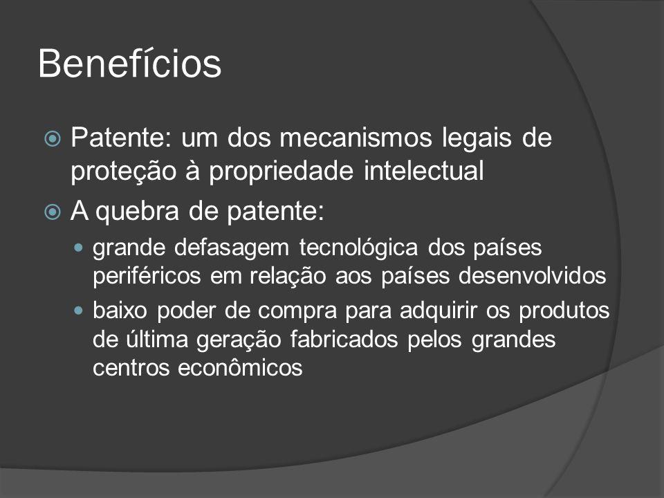 Benefícios Patente: um dos mecanismos legais de proteção à propriedade intelectual A quebra de patente: grande defasagem tecnológica dos países perifé