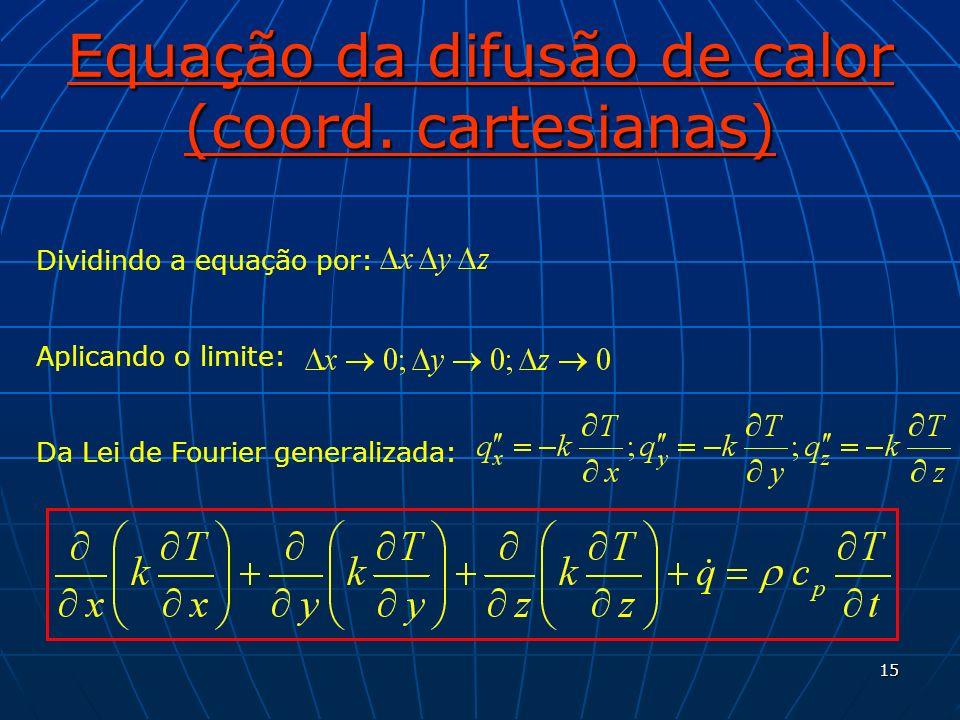 15 Equação da difusão de calor (coord. cartesianas) Dividindo a equação por: Aplicando o limite: Da Lei de Fourier generalizada: