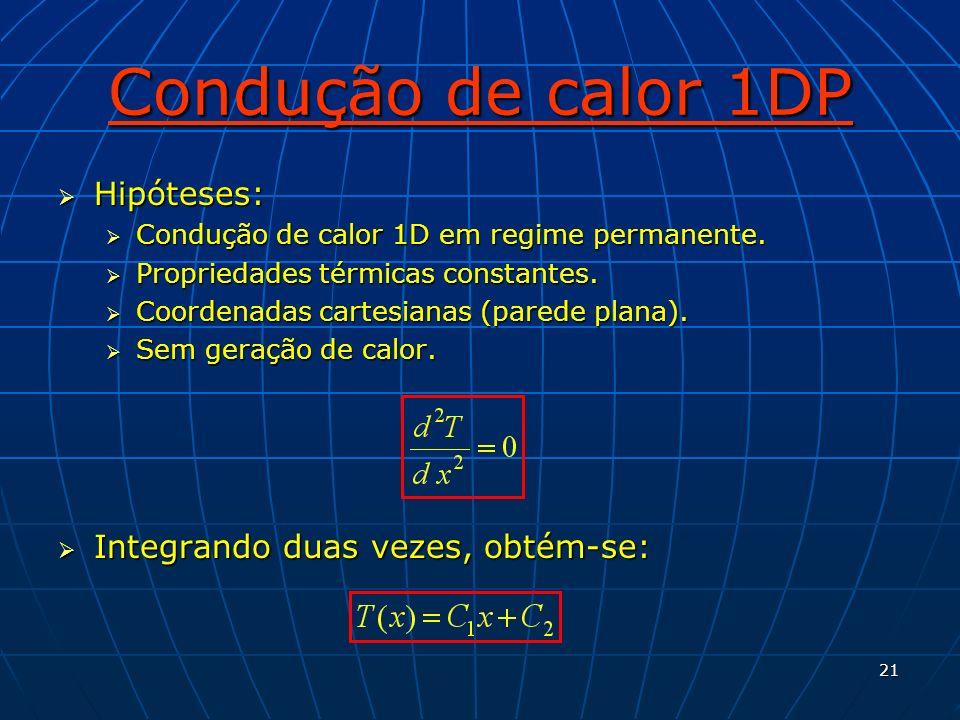 21 Condução de calor 1DP Hipóteses: Hipóteses: Condução de calor 1D em regime permanente. Condução de calor 1D em regime permanente. Propriedades térm