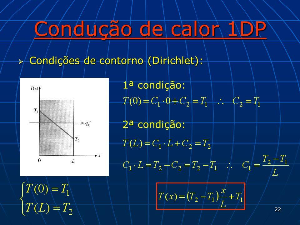 22 Condução de calor 1DP Condições de contorno (Dirichlet): Condições de contorno (Dirichlet): 1ª condição: 2ª condição: