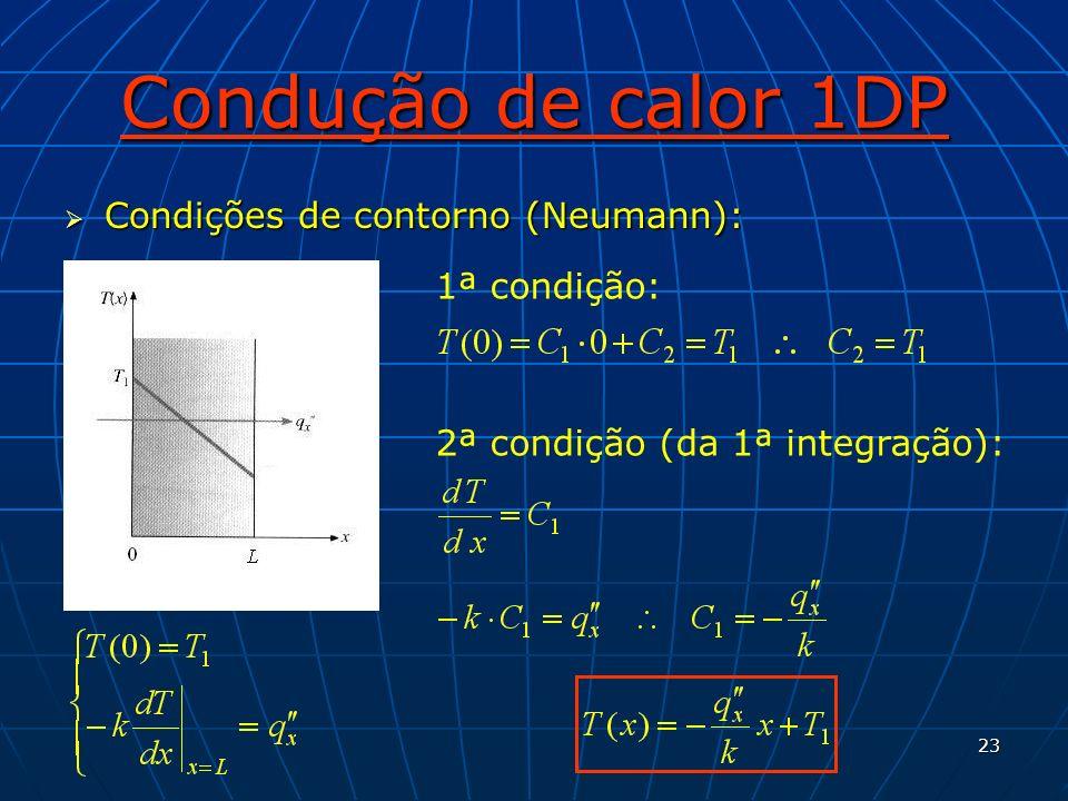 23 Condução de calor 1DP Condições de contorno (Neumann): Condições de contorno (Neumann): 1ª condição: 2ª condição (da 1ª integração):