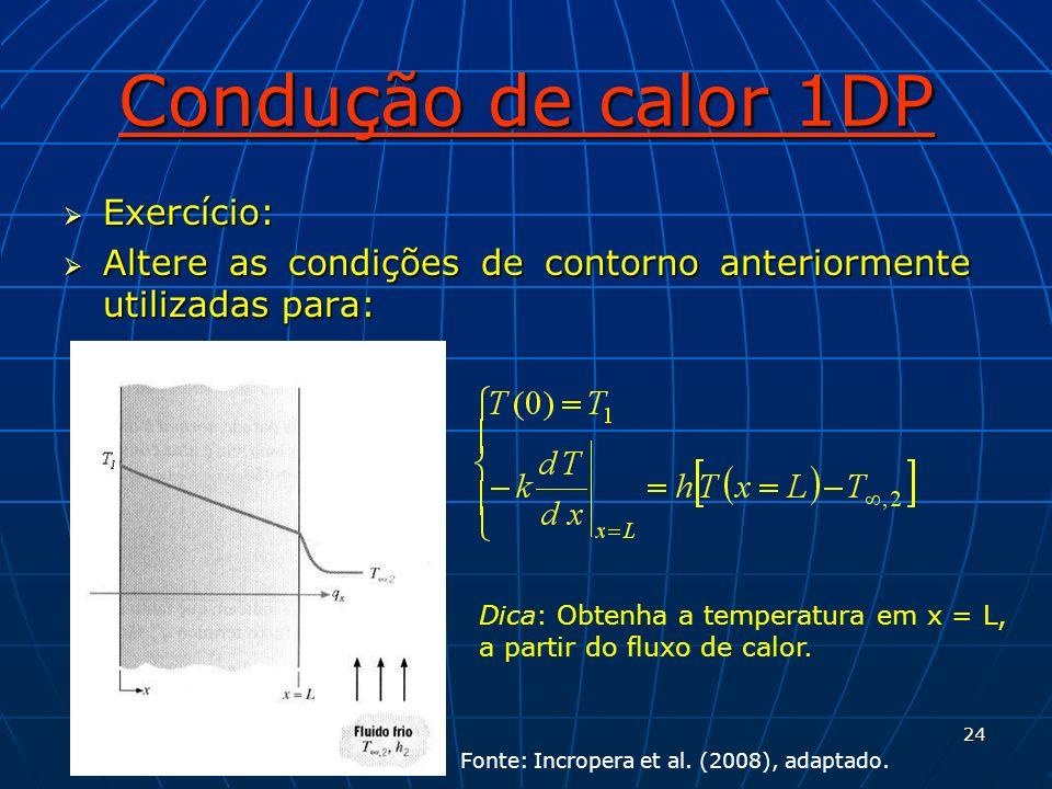 24 Condução de calor 1DP Exercício: Exercício: Altere as condições de contorno anteriormente utilizadas para: Altere as condições de contorno anterior