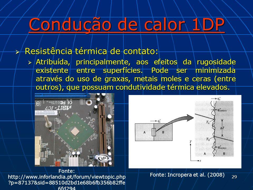 29 Condução de calor 1DP Resistência térmica de contato: Resistência térmica de contato: Atribuída, principalmente, aos efeitos da rugosidade existent