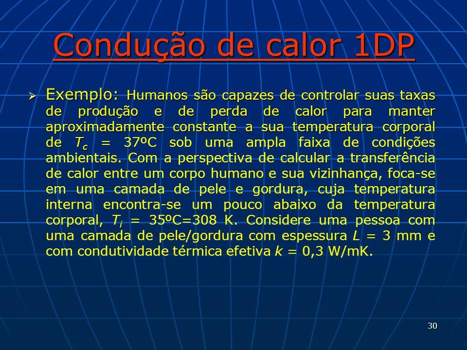 30 Condução de calor 1DP Exemplo: Humanos são capazes de controlar suas taxas de produção e de perda de calor para manter aproximadamente constante a