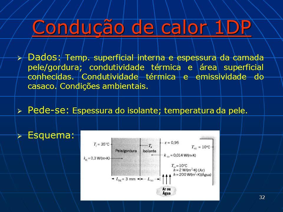 32 Condução de calor 1DP Dados: Temp. superficial interna e espessura da camada pele/gordura; condutividade térmica e área superficial conhecidas. Con