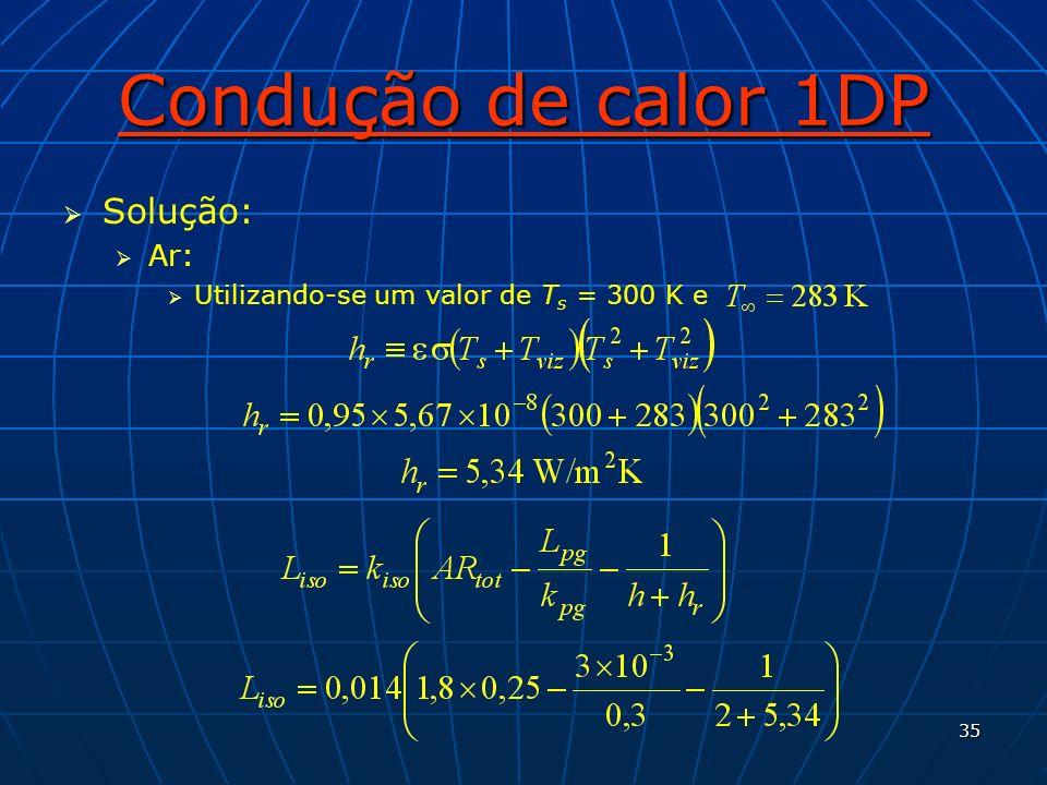 35 Condução de calor 1DP Solução: Ar: Utilizando-se um valor de T s = 300 K e
