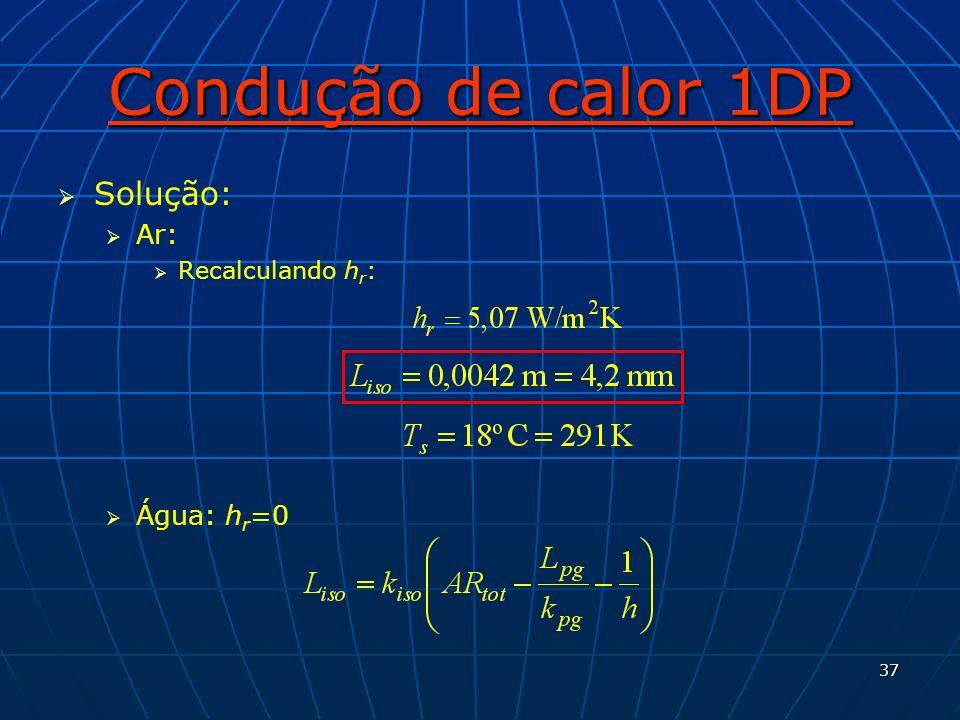 37 Condução de calor 1DP Solução: Ar: Recalculando h r : Água: h r =0