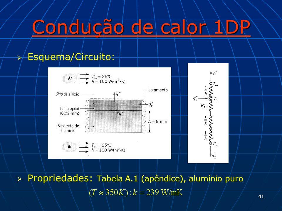 41 Condução de calor 1DP Esquema/Circuito: Propriedades: Tabela A.1 (apêndice), alumínio puro