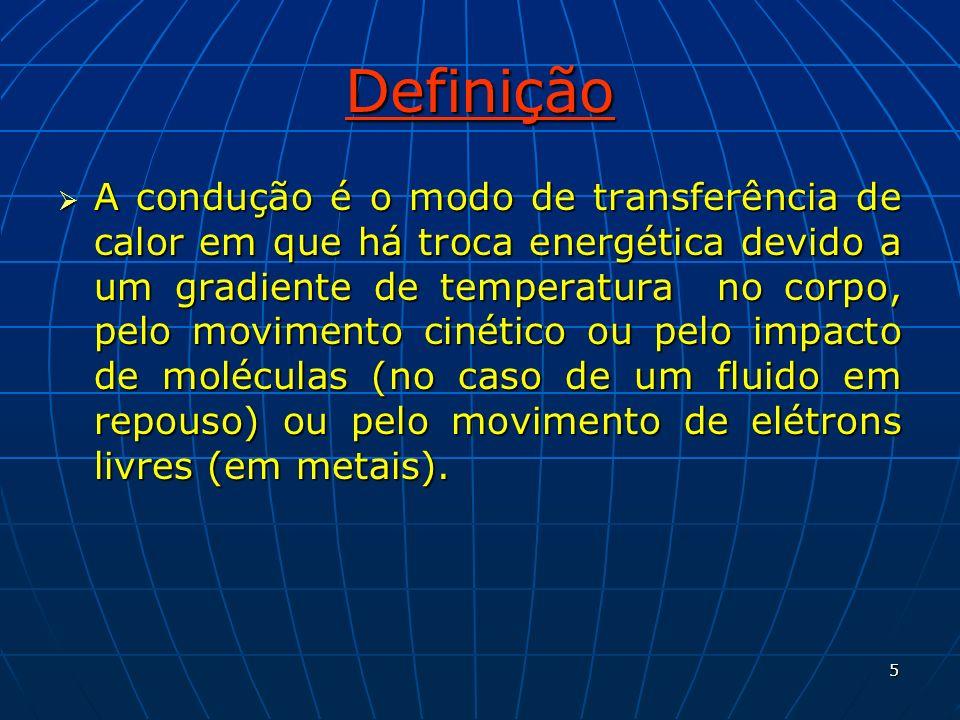 5 Definição A condução é o modo de transferência de calor em que há troca energética devido a um gradiente de temperatura no corpo, pelo movimento cin