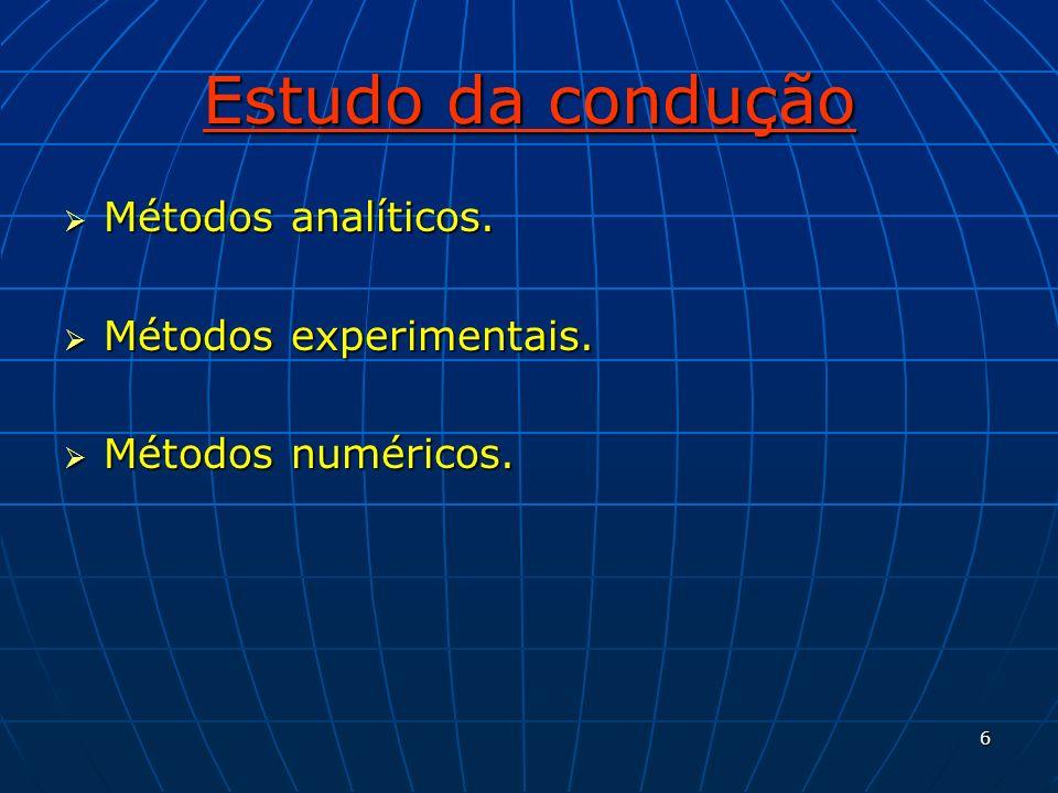 6 Estudo da condução Métodos analíticos. Métodos analíticos. Métodos experimentais. Métodos experimentais. Métodos numéricos. Métodos numéricos.