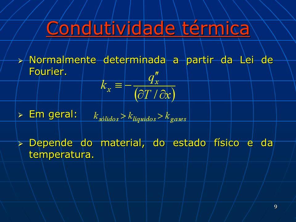 9 Condutividade térmica Normalmente determinada a partir da Lei de Fourier. Normalmente determinada a partir da Lei de Fourier. Em geral: Em geral: De