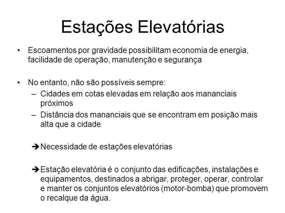 Estações Elevatórias Escoamentos por gravidade possibilitam economia de energia, facilidade de operação, manutenção e segurança No entanto, não são po