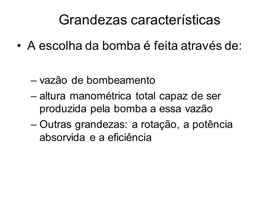Grandezas características A escolha da bomba é feita através de: –vazão de bombeamento –altura manométrica total capaz de ser produzida pela bomba a e