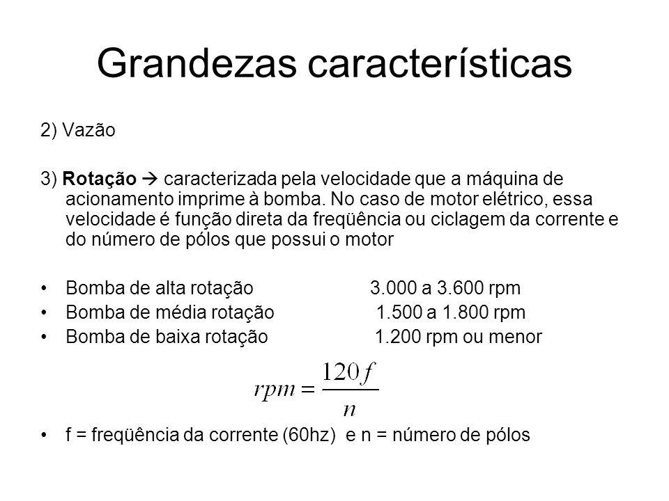 Grandezas características 2) Vazão 3) Rotação caracterizada pela velocidade que a máquina de acionamento imprime à bomba. No caso de motor elétrico, e