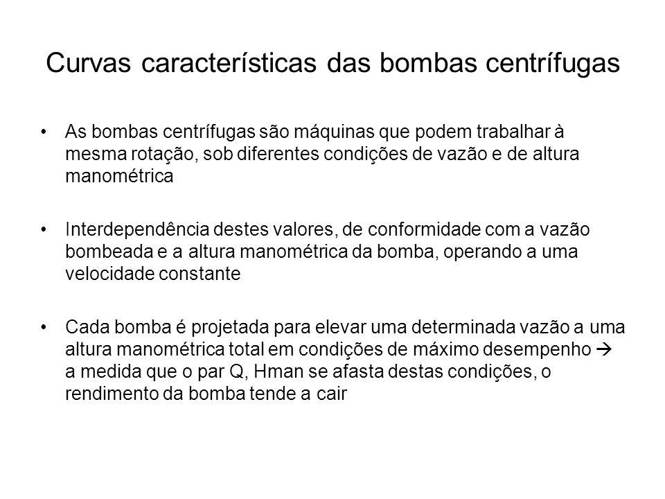 Curvas características das bombas centrífugas As bombas centrífugas são máquinas que podem trabalhar à mesma rotação, sob diferentes condições de vazã
