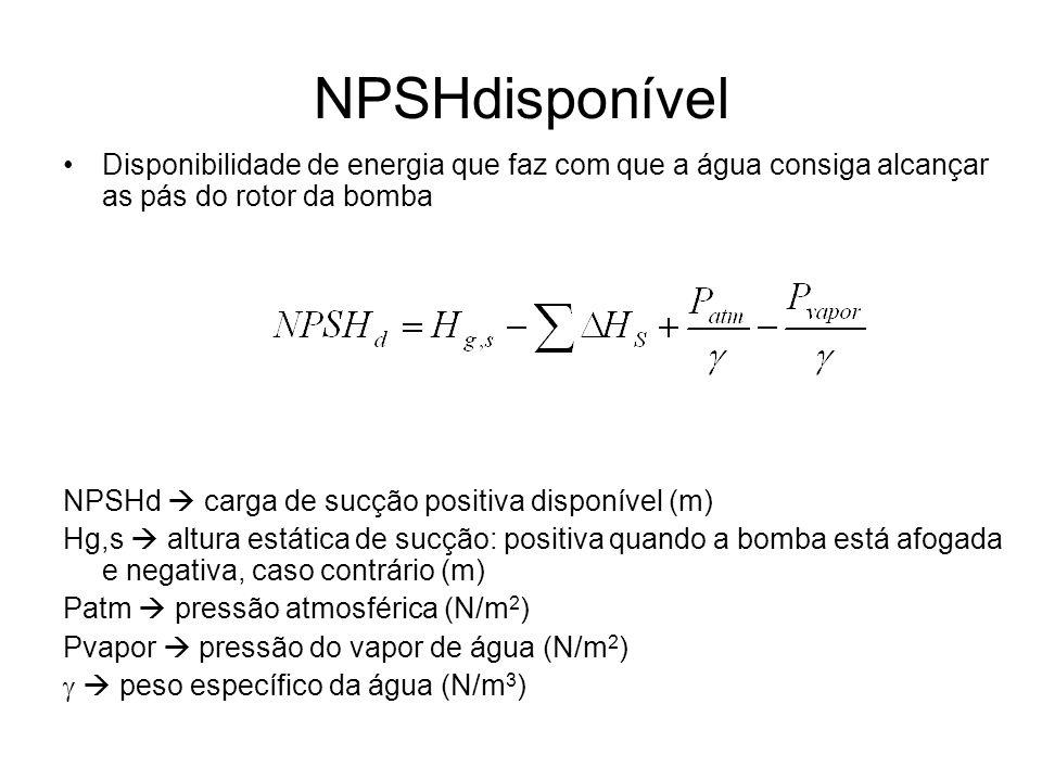 NPSHdisponível Disponibilidade de energia que faz com que a água consiga alcançar as pás do rotor da bomba NPSHd carga de sucção positiva disponível (