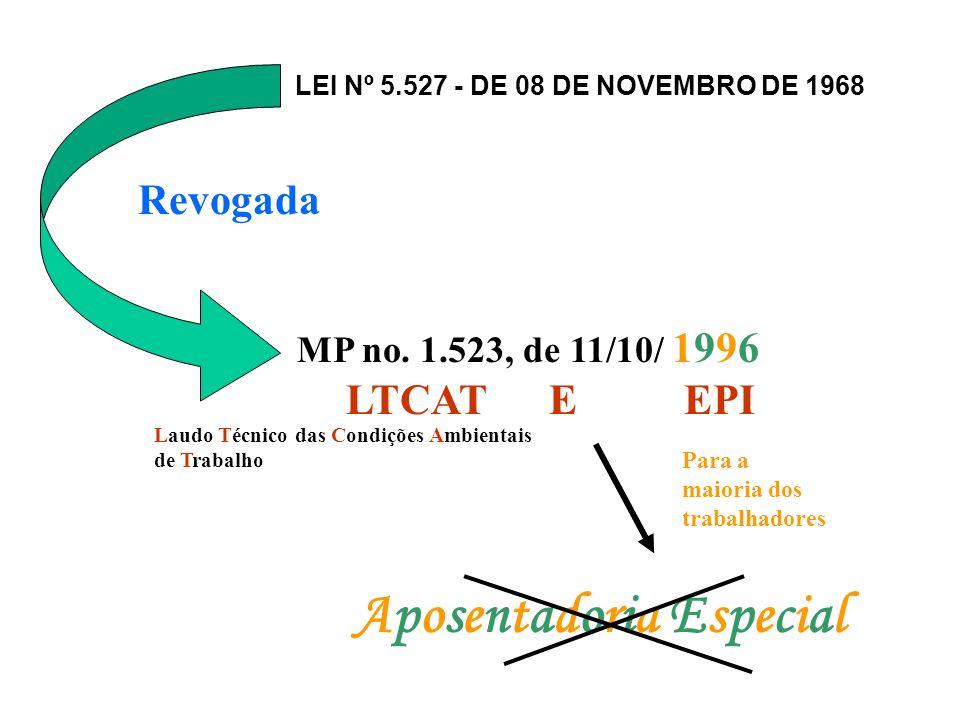 Aposentadoria EspecialAposentadoria Especial Telefonistas: 14 de outubro de 1996 Guarda, vigia ou vigilante: 28 de abril de 1995.
