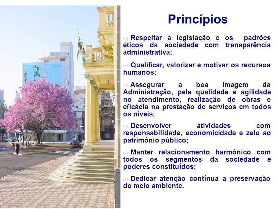 Princípios Respeitar a legislação e os padrões éticos da sociedade com transparência administrativa; Qualificar, valorizar e motivar os recursos humanos; Assegurar a boa imagem da Administração, pela qualidade e agilidade no atendimento, realização de obras e eficácia na prestação de serviços em todos os níveis; Desenvolver atividades com responsabilidade, economicidade e zelo ao patrimônio público; Manter relacionamento harmônico com todos os segmentos da sociedade e poderes constituídos; Dedicar atenção contínua a preservação do meio ambiente.