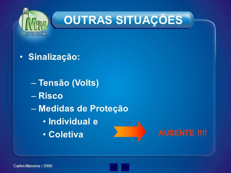ASSESSORIA EM SEGURANÇA Carlos Massera / 2000 OUTRAS SITUAÇÕES Alimentação de energia: Acidente CABOS Especificação Inadequada: - mecânica - elétrica