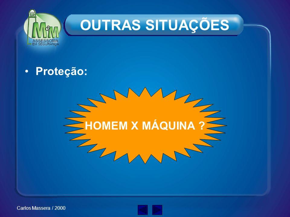 ASSESSORIA EM SEGURANÇA Carlos Massera / 2000 OUTRAS SITUAÇÕES Proteção: Acidente Especificação Inadequada: Chaves tipo faca Quadros abertos Partes Vi