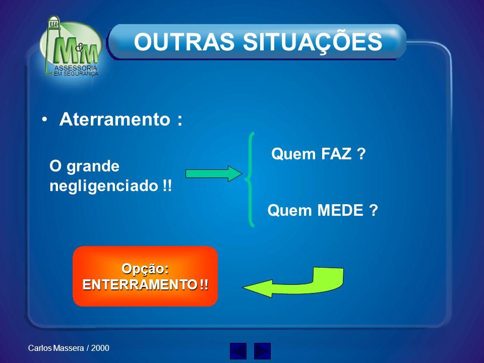 ASSESSORIA EM SEGURANÇA Carlos Massera / 2000 OUTRAS SITUAÇÕES Saúde do Funcionário e de Terceiros: Acidente Problemas desconhecidos Cardíacos Labirin