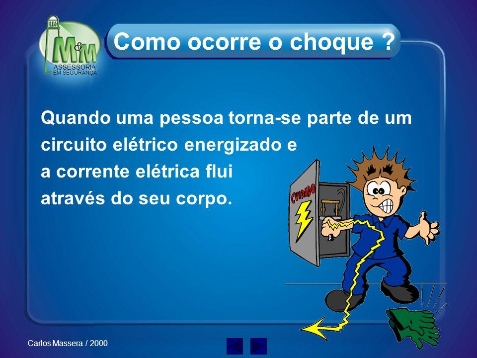 ASSESSORIA EM SEGURANÇA Carlos Massera / 2000 Como ocorre o choque elétrico ? Quais o tipos de choque ? Porque a eletricidade é um risco ? O que o cho