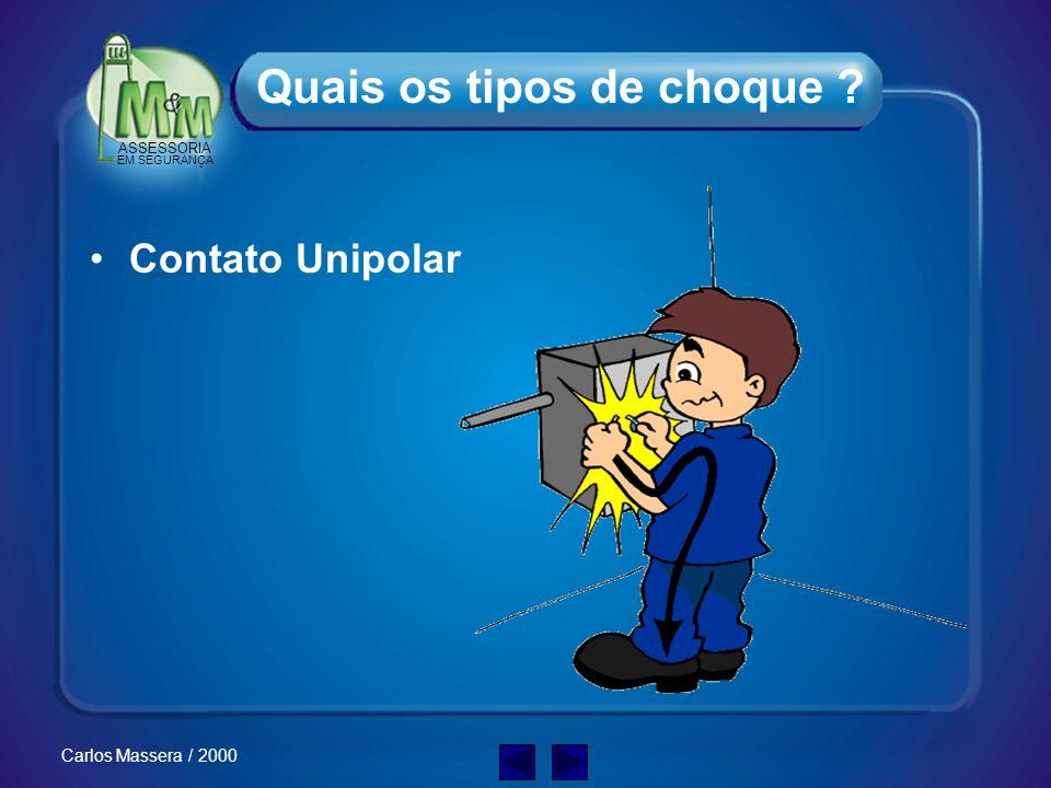 ASSESSORIA EM SEGURANÇA Carlos Massera / 2000 Quando uma pessoa torna-se parte de um circuito elétrico energizado e a corrente elétrica flui através d