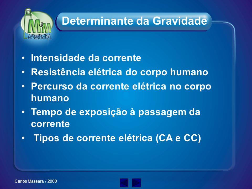 ASSESSORIA EM SEGURANÇA Carlos Massera / 2000 Espasmos musculares Queimaduras elétricas Contração descoordenada do coração(fibrilação) Parada respirat