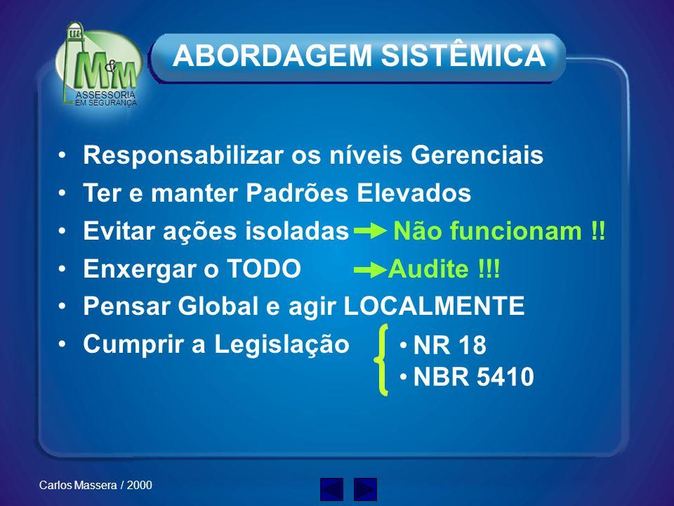 ASSESSORIA EM SEGURANÇA Carlos Massera / 2000 ABORDAGEM: A SOLUÇÃO!!! SISTÊMICA e OPERACIONAL