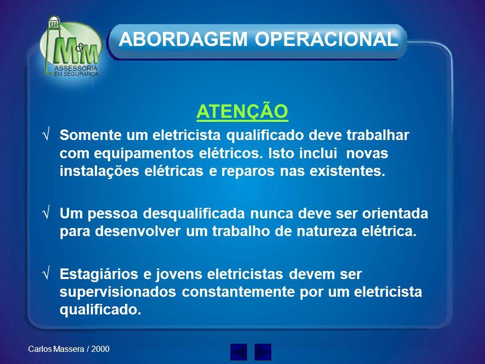 ASSESSORIA EM SEGURANÇA Carlos Massera / 2000 Treinamento e Supervisão Qualifique sua EQUIPE, pois: Eletricidade Aplique os padrões definidos para os